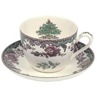 SpodeクリスマスツリーGrove Teacup and Saucer、4のセット