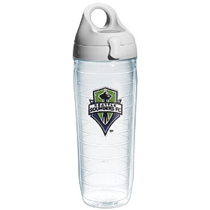 """Tervis 1107222"""" MLS Seattle Sounders """"ウォーターボトルグレー蓋、エンブレム、24オンス、クリア"""