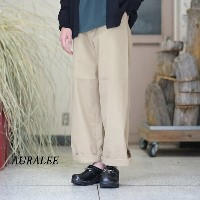 AURALEE(オーラリー)/ WASHED FINX LIGHT CHINO WIDE PANTS -KHAKI BEIGE-