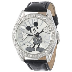 ディズニー Disney Unisex MK1015 Mickey Mouse Silver Dial Black Crocodile Strap Watch 男性 メンズ 腕時計 【並行輸入品】