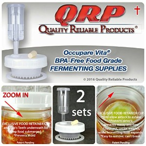 2QRP no Messyオーバーフローウェイト必要ないmold-proof Mason Jar Fermentationキットwith Exclusive Food RetainerカップKeep...