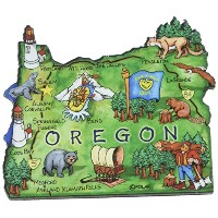 Oregon the Beaver State Artwood Jumbo Fridge Magnet by Saddle Mountain Souvenir