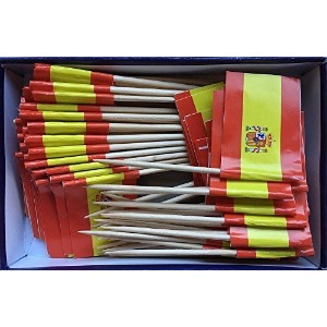 Spanish Flag Toothpick (Box of 100 Toothpicks) Spain Flags - Banderas de Espaテδアa - Food Picks for...