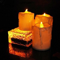 (3pcs-yellow) - Flameless Flickering Pillar Candles Battery Powered Electric Tear Drop Candle LED...