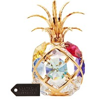 24KゴールドメッキクリスタルスタッズフルーツOrnament with Crystals by Matashi Mini Pineapple with Colored Crystals ゴールド...