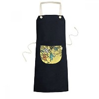 Bouquet Lily Flowers Best Wish Plant Painting Cooking Kitchen Black Bib Aprons With Pocket for...