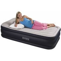 (インテックス エアーベッド) Deluxe Pillow Rest Airbed with Built-In AC Pump, Twin Blue by Intex