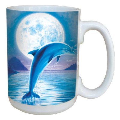 Tree-Free Greetings 79086 Dolphin Moon Collectible Art Ceramic Mug with Full Sized Handle, 440ml,...