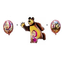 """Masha and the Bear Party Shape Foil Ballonsセット: 3個、18"""" + 35"""" + 18"""""""