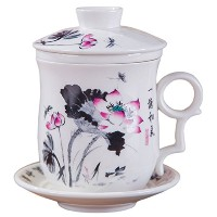 bandtie便利旅行オフィスLoose Leaf Tea醸造system-chinese景徳鎮蓋、茶漉4点セットwithブルーandホワイトPorcelainティーカップティーカップSaucer