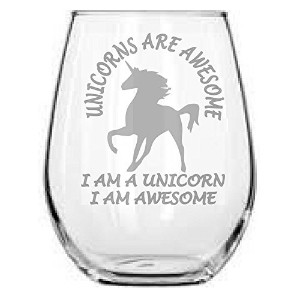 Stemlessワインガラス–Unicorns Are Awesome Stemless–Uniqueギフト