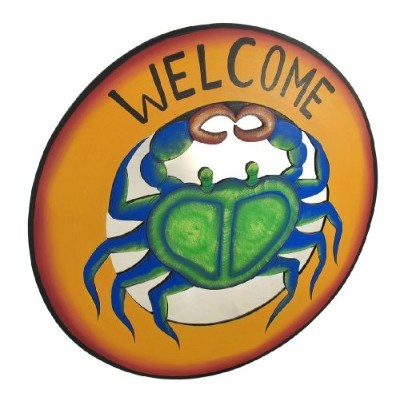 Large Blue Crab Mirrored ' Welcome ' Plaque