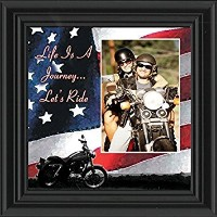 Life 's A Journey、Harley Davidson Motorcycle withアメリカ国旗背景、10x 109751 10x10 ブラック 9751B