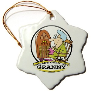 3drose Dooni Designs Worlds Greatest漫画 – Funny Worlds Greatest Granny Cartoon – Ornaments 3 inch...
