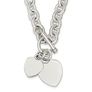 Iceカラット925スターリングシルバーEngraveable Heart Disc onリンクToggleチェーンネックレスS / Love Engravable