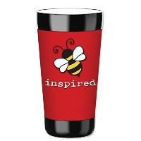 MugzieタンブラーDrink Cup with Removable Insulatedウェットスーツカバー–Bee Inspired 16オンス 8119-TUM
