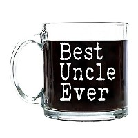 P & B BEST UNCLE EVERユニーク、父の日誕生日ギフトfor Dad、コーヒー、お茶かBeveragesクリアガラスマグカップ13オンスg105 13 oz. ホワイト