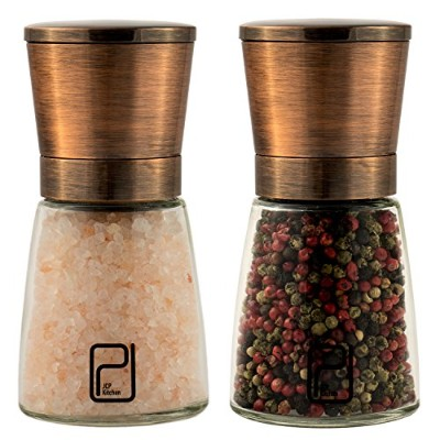 Premium Salt and Pepper Mill Set with Stand - Copper Stainless Steel Salt and Pepper Shakers -...