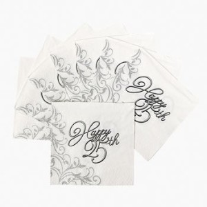 25th Anniversary Beverage Napkins - Party Tableware & Tableware Sets by Oriental Trading Company