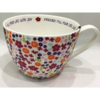 "Portobelloフローラルコーヒー/ティー/ Latteカップ/マグ内接"" Friends Fill Your Life with Joy ""英語Designed Bone China"