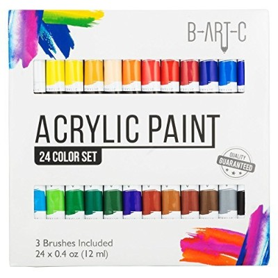 b-art-c–アクリルペイント–24色鮮やかなアートペイントブラシキットIncludes 3–Non Toxicペイントセットforキャンバス生地、ガラス、ネイルアート、ロック...