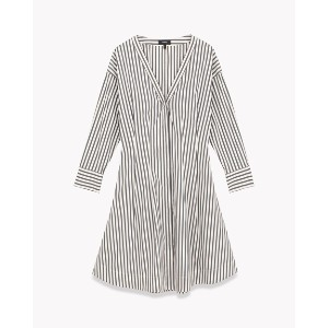 【Theory】発売前 Bryson Stripe Darted Buttomdown Dress 【4月下旬入荷予定】シャープなVネックが印象的なドロップショルダーのシャツワンピース。 ブラック...