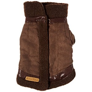 Kumfy Tailz WCXSBNBN Winter Coat X-Small Brown Suede With Brown Sherpa