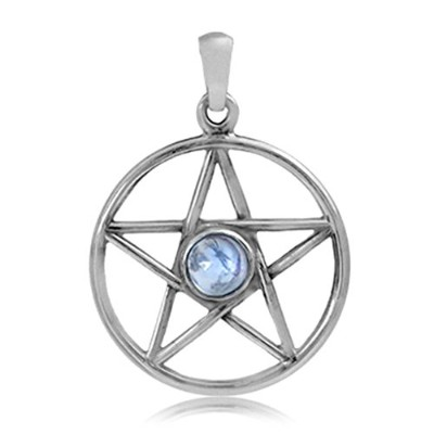 Natural Moonstone 925 Sterling Silver Pentagram Star Pendant