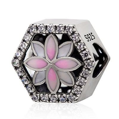 Magnolia Flower Charm Authentic 925 Sterling Silver Pink Enamel Bead with Clear Cz Charms for...