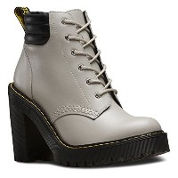 Dr. Martens Womens Persephone 6-Eye Padded Collar Fashion Boots  Grey Leather  9 M UK  11 M US