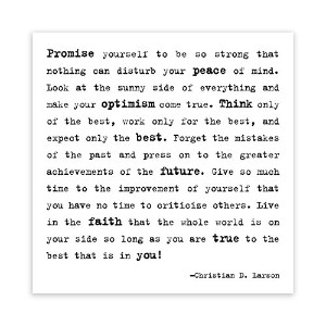 Make Your Optimism Come True - Christian D. Larson Black and White Magnet by Quotable Cards