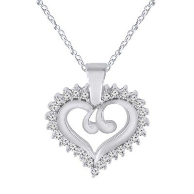 Valentines Day Gifts for Women Loveハートキュービックジルコニアペンダントネックレス925スターリングシルバー