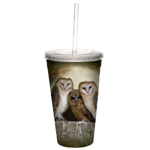 tree-free Greetings 80048 3つOwl Moon Collectibleアート二重壁Cool Cup with Straw、473ml、マルチカラー