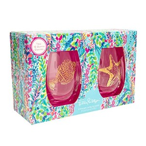 Lilly Pulitzer Stemlessワイングラスセット – Catch The Wave