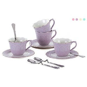 Jusalpha ® Porcelain Tea Cup and Saucerコーヒーカップセットwith Saucer and Spoon fd-tcs01 Set of 4 パープル