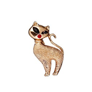 Muzheキュートゴールド猫ブローチピンwith Crystal for Women