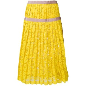 Miahatami pleated lace skirt - イエロー&オレンジ