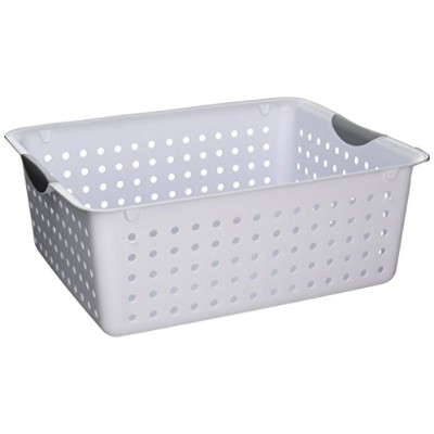 STERILITE Large Ultra Basket. White with Gray Inserts in Handles