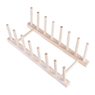 Beautyflier Wooden Dish Plate Rack 7 Slots Drain Board Drying Display Stand Kitchen Cabinet...