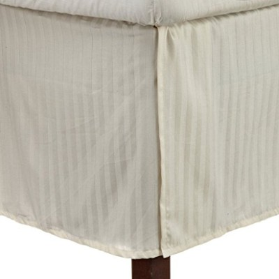 (Queen, Ivory) - 100% Premium Combed Cotton 300 Thread Count Queen Bed Skirt Stripe, Ivory