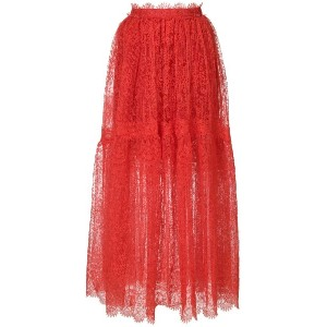 Ermanno Scervino lace maxi skirt - レッド