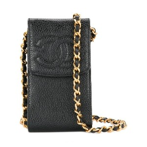 Chanel Vintage logo crossbody phone case - ブラック