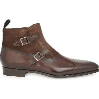 マグナーニ メンズ シューズ・靴 ブーツ【leather & suede double buckled ankle boots】Mid brown