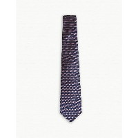 ターンブル&アッサー メンズ ネクタイ【two-tone diamond-stripe silk and cotton tie】Navy white