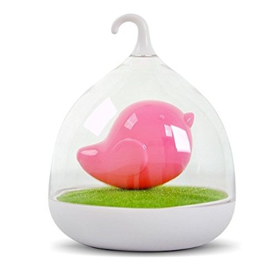 (Pink) - LIWUYOU Birdcage Shape Portable Touch Dimmable Lamp Control 3d Bird LED Night Light with...