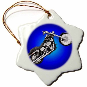 3droseオーナメントPicturing FXDWGI Dyna Wide glide174; Motorcycle 3 inch Snowflake Porcelain Ornament...