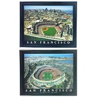 Framed San Francisco Giants and 49ers–At & t and Candlestick Park航空写真プリント( Set of 2)