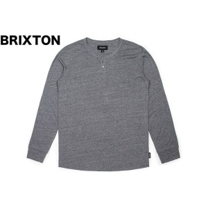 Brixton Redford L/S Henley T-Shirt Heather Grey XS 送料無料