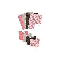 Trend Lab Baby Cocoa Coral 8 Piece Bib and Burp Cloth Bouquet Set by Trend Lab