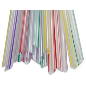 2dayShip Clear Striped Bubble Tea Boba Straws Jumbo Striped, 8.5 inches, 100 Count by 2dayShip